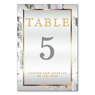 Silver Marble, Gold and White Satin - Table Card