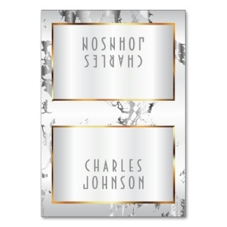 Silver Marble,Gold & White Satin -Place Cards Table Cards