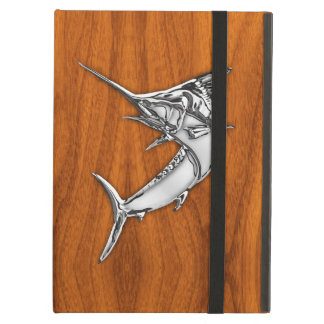 Silver Marlin on Teak Wood Decor iPad Air Cover