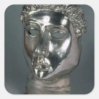Silver mask, Roman, 1st half of 3rd century AD (si Square Stickers