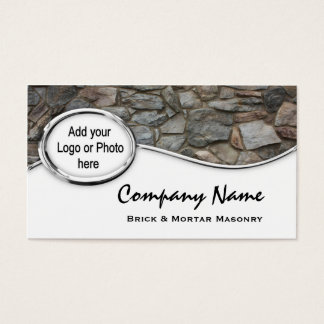 Silver Masonry Rock Logo Photo Business Cards