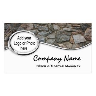 Silver Masonry Rock Logo Photo Business Cards