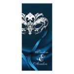 Silver Masquerade Blue Jewelled Wedding Program Rack Card