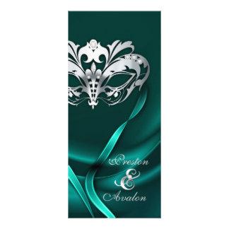 Silver Masquerade Teal Jeweled Wedding Program Rack Card