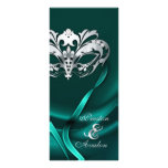 Silver Masquerade Teal Jewelled Wedding Program Rack Card