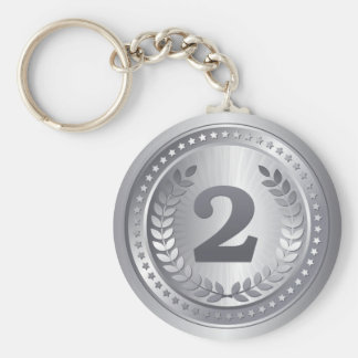 Silver medal 2nd place winner key ring