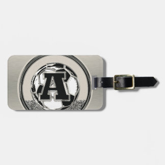 Silver Medal Soccer Monogram Letter A Luggage Tag