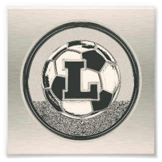 Silver Medal Soccer Monogram Letter L Art Photo