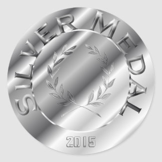 Silver Medal with year option Round Sticker
