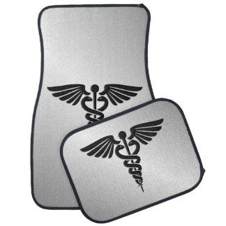Silver Medical Caduceus Car Mat