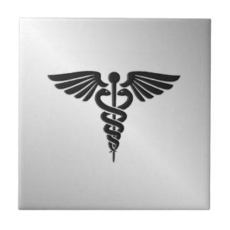 Silver Medical Caduceus Ceramic Tile