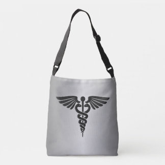 Silver Medical Caduceus Crossbody Bag