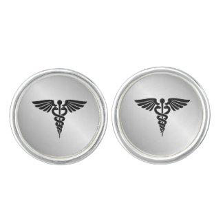 Silver Medical Caduceus Cufflinks