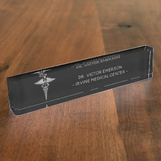 Silver Medical Caduceus on Black Personalized Name Plate