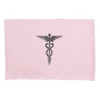 Silver Medical Caduceus Pillowcase