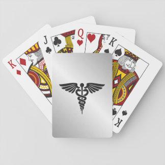Silver Medical Caduceus Playing Cards