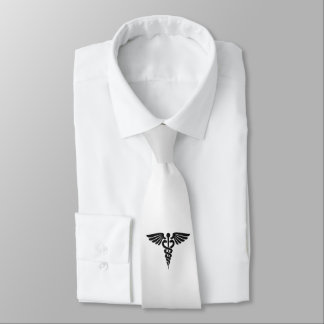 Silver Medical Caduceus Tie
