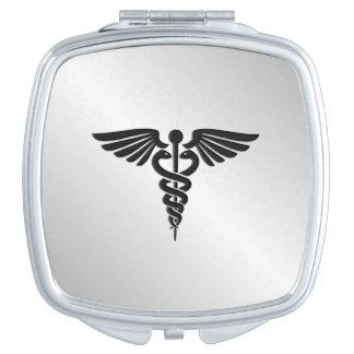 Silver Medical Caduceus Travel Mirror