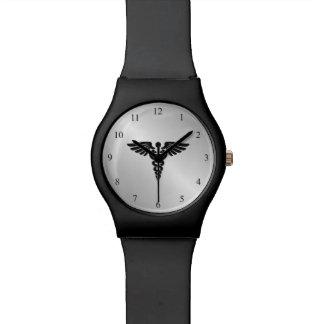 Silver Medical Caduceus Wristwatch