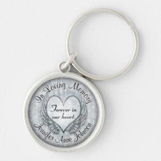 Silver Memorial Heart Key Ring