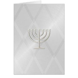 Silver Menorah Hanukkah Card