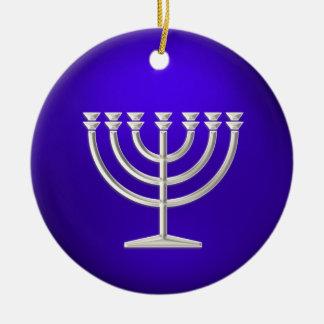 Silver Menorah Hanukkah Ornament