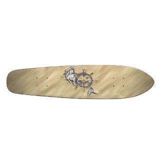 Silver Mermaid in the Sand Decor Skateboard Deck