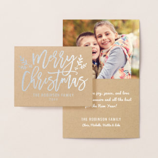 Silver Merry Christmas | Holiday Photo Foil Card