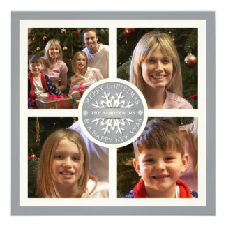 Silver Merry Christmas Snowflake Photo Card 13 Cm X 13 Cm Square Invitation Card