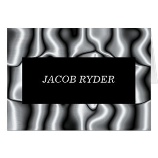 Silver Metal Bar Mitzvah Thank You Note II Card