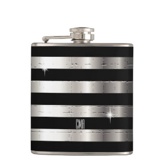 Silver Metal & Black Stripe | DIY Monogram Hip Flask