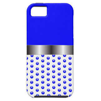 silver Metal Blue White iPhone 5 Cover