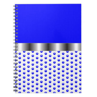 silver Metal Blue White Note Book