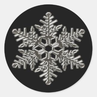 Silver Metal Deco Snow Fall Snowflakes Round Sticker
