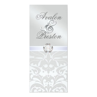 Silver Metal Diamond Damask Wedding Invitation