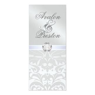 "Silver Metal Diamond Damask Wedding Invitation 4"" X 9.25"" Invitation Card"