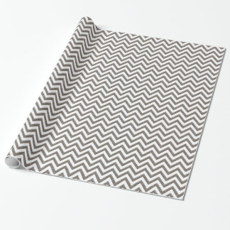 Silver Metal Look Chevron Pattern Wrapping Paper