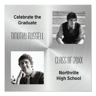 Silver Metal Shine - Graduation Announcement