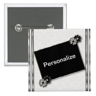 Silver Metallic and Black & White | DIY Text 15 Cm Square Badge