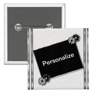 Silver Metallic and Black & White | DIY Text 15 Cm Square Badge