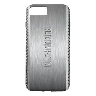 Silver Metallic Brushed Aluminum Geometric Accents iPhone 8 Plus/7 Plus Case