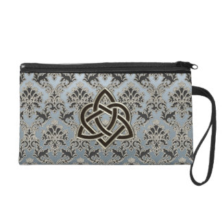 Silver Metallic Damask Celtic Heart Knot Bag Wristlet Purse