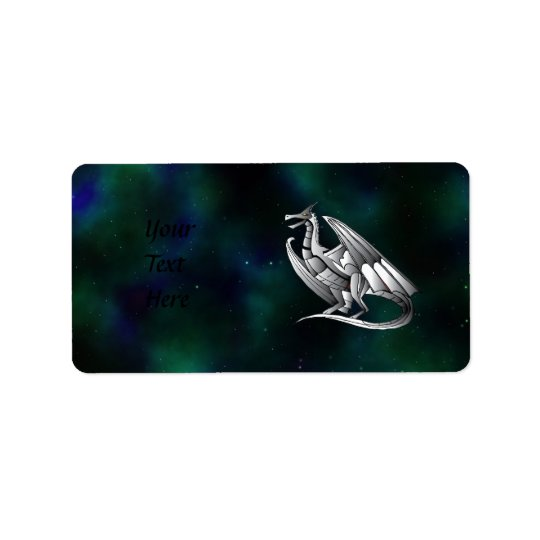Silver Metallic Dragon Address Label