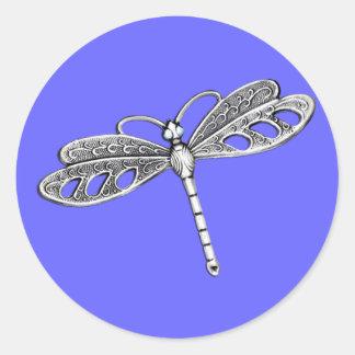 Silver Metallic Dragonfly Round Sticker