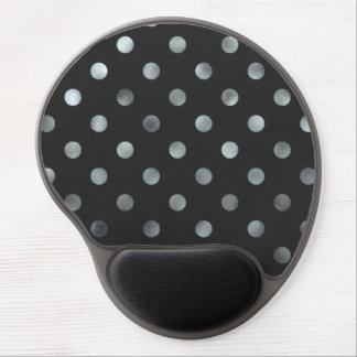 Silver Metallic Faux Foil Large Polka Dot Black Gel Mouse Pad