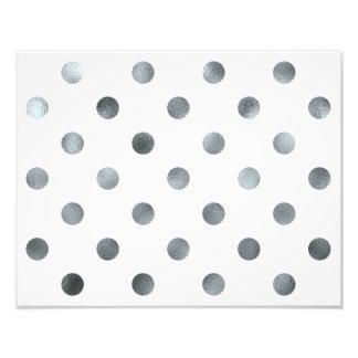 Silver Metallic Faux Foil Polka Dot White Art Photo