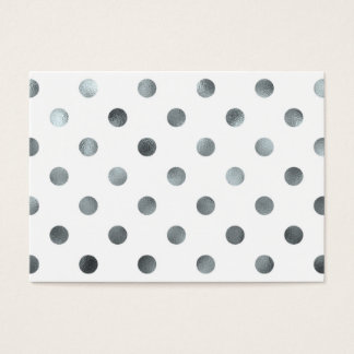 Silver Metallic Faux Foil Polka Dot White Business Card