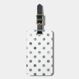 Silver Metallic Faux Foil Polka Dot White Travel Bag Tags