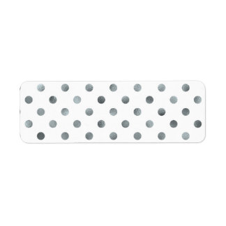 Silver Metallic Faux Foil Small Polka Dot White Return Address Label