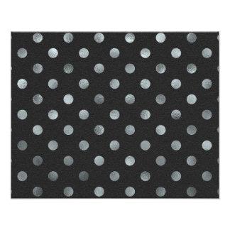 Silver Metallic Foil Small Polka Dot Black Photo Print